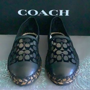 COACH CLEO ESP SIG C MESH FLAT SHOES SLIP ON BLACK